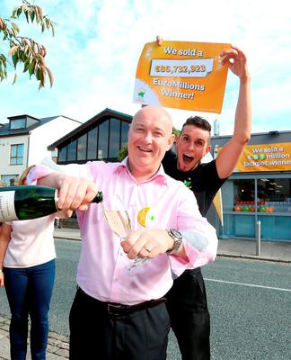 Dave Whelan, owner, Centra and Simon Collier, shop manager pictured at the celebrations. Pic: Mac Innes Photography