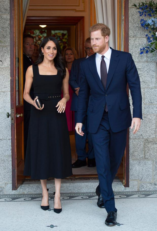 Stepping out: The Duke and Duchess of Sussex at the British ambassador's residence during their visit to Dublin in July 2018. Picture: PA