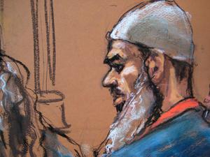 Suleiman Abu Ghaith stands in front of  U.S. District Judge Lewis Kaplan during his sentencing on terrorism charges, as seen in this courtroom drawing in New York. Reuters/Jane Rosenberg