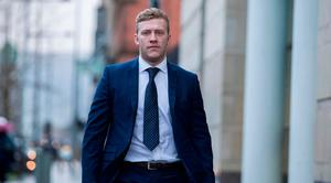 Ireland and Ulster rugby player Stuart Olding arrives at Belfast Crown Court this week Photo: Liam McBurney/PA Wire
