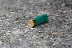 A shotgun shell on the ground near the house at Liscarne Gardens in Ronanstown Photo: Frank McGrath