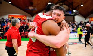 Lorcan Murphy, right, and Darren Townes of Griffith College Templeogue celebrate. Photo by Brendan Moran/Sportsfile