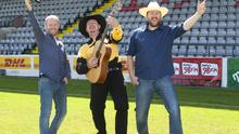 Pictured at the launch of 98FM's Ultimate Garth Brooks Experience this morning were Ray Foley, Trevor Smith ( Garth Brooks) and JP Gilbourne.  98FM's Ray Foley proved he has 'friends in high places' by putting together a live Garth Brooks tribute concert at Dublin's Dalymount Park on 26th July with over 2,500 people expected. Tickets are priced at €25 per person, with proceeds going to Temple Street Children's Hospital and are available to purchase on 98FM.com. Pic Patrick O'Leary NO REPRO FEE