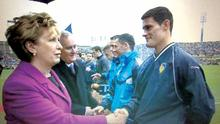 Diarmuid Connolly sports a Leitrim training top while greeting President Mary McAlesse prior to the 2011 All-Ireland football final