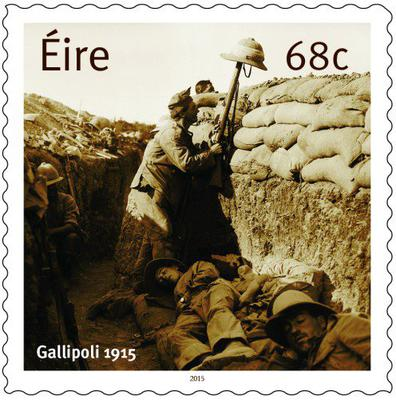 Designed by Dublin-based Vermillion Design, a 68c stamp shows a photograph of Irish soldiers in a trench at Gallipoli