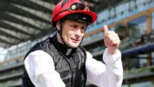 Pat Smullen celebrates after riding Free Eagle to victory in the 16.20 Prince of Wales's Stakes