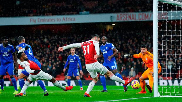 Arsenal's Sead Kolasinac is unable to convert a chance from close rnage. Photo: REUTERS/Eddie Keogh