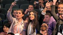 Delegates waving at actress Meghan Markle at the One Young World 2014 Summit in Dublin. Pic:Mark Condren 17.10.2014