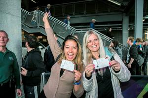 Tamara Thaise and Fabiola Scapinni  from Brazil  U2 Fans  with their tickets