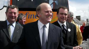 Tough times: Michael Noonan canvassing in Boyle, Co Roscommon, in 2002. Photo: James Connolly / Picsell8