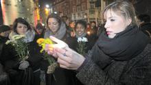 Marion Beaufrere from Dublin's city centre but orignally from Paris during a vigil on O' Connell Street Dublin for people killed in a shooting at the Paris offices of French satirical weekly magazine Charlie Hebdo. Photo:  Gareth Chaney Collins