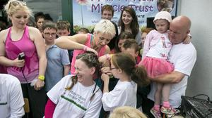 Darragh Mc Gonigle  Vice Principal of Balscadden National School has her Head shaved in aid of the Molly Mc Nally Miracle Trust ,she is Molly's Teacher.
