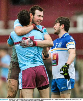 GMIT's Andy Glennon, right, celebrates with team-mate Michael Farragher at the end of their Independent.ie Sigerson Cup clash against DIT