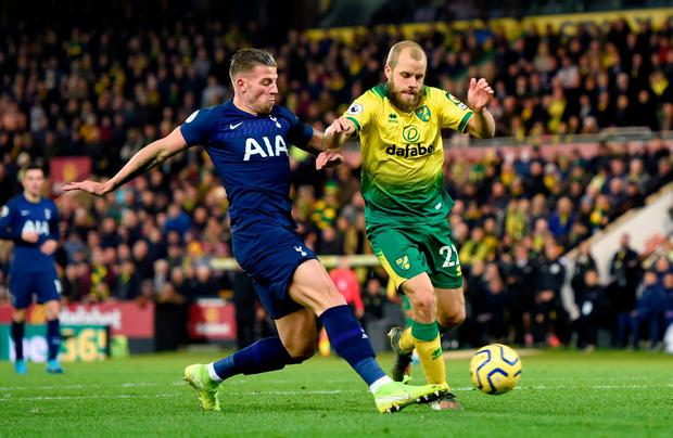 Norwich City's Teemu Pukki (right) and Tottenham Hotspur's Toby Alderweireld battle for possession before the ball rebounds off Tottenham Hotspur's Serge Aurier (not in frame) resulting in an own goal. Photo: Joe Giddens/PA Wire