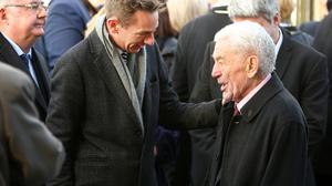 Marian Finucane's funeral.  Ryan Tubridy and Marians husband John Clarke at St Brigids Church Kill.  Picture; Gerry Mooney