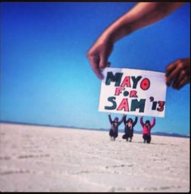 Mayo for Sam taken at the Salt Flats in Bolivia. Pictured: Sinead Browne, Dearbhla Brogan and Eveann Kennedy. All from Ballina, Co. Mayo