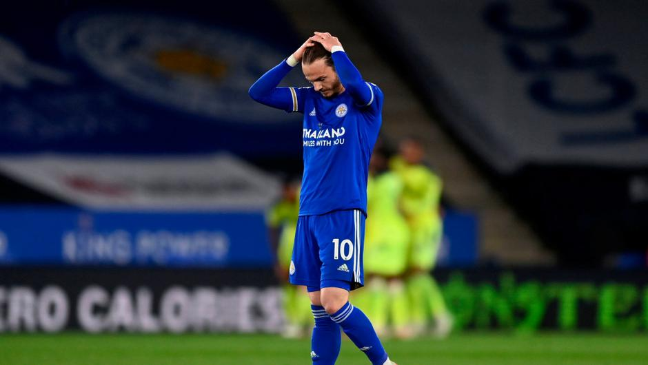 Leicester City's James Maddison reacts after seeing his side concede a fourth goal in the defeat to Newcastle. Michael Regan/PA Wire.