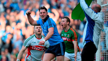 Philip McMahon celebrates after scoring his side's second goal in the win over Mayo at Croke Park last night