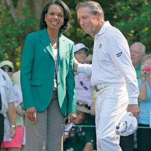 Condoleezza Rice and golf legend Gary Player at the Masters in Augusta