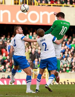 Football - Northern Ireland v Finland - UEFA Euro 2016 Qualifying Group F - Windsor Park, Belfast, Northern Ireland - 29/3/15 Northern Ireland's Kyle Lafferty scores their second goal Action Images via Reuters / Jason Cairnduff Livepic EDITORIAL USE ONLY.