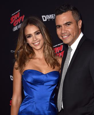 """Actress Jessica Alba (L) and Cash Warren attend the premiere of Dimension Films' """"Sin City: A Dame To Kill For"""" at TCL Chinese Theatre"""