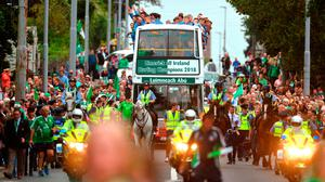 The team bus makes its way down the Ennis Road