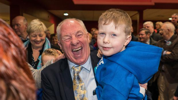 Michael Ring with his grandson Ben Bourke (5) at the count centre in Castlebar, Co Mayo. Photo: Keith Heneghan