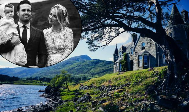 Vogue Williams and Spencer Matthews with baby son Theodore, inset, and Affric Lodge on the Glen Affric estate in Scotland, centre. Picture: Oetker Collection