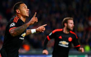 Manchester United's Memphis Depay celebrates after scoring