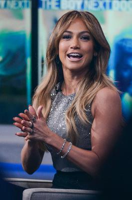 """Actress Jennifer Lopez leaves the """"Good Morning America"""" taping at the ABC Times Square Studios"""
