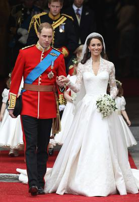 Kate Middleton with Prince William at their 2011 wedding