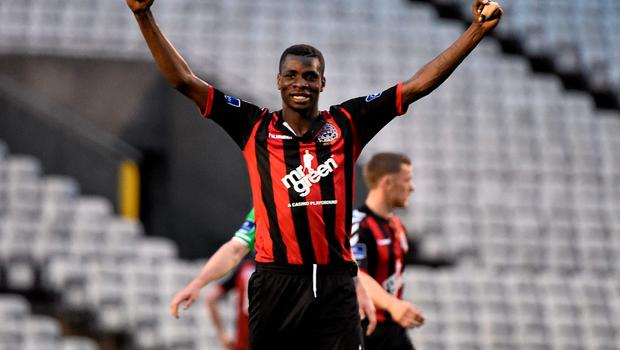 12 June 2015; Ismahil Akinade, Bohemians, celebrates at the end of the game. SSE Airtricity League Premier Division, Bohemians v Shamrock Rovers. Dalymount Park, Dublin. Picture credit: David Maher / SPORTSFILE