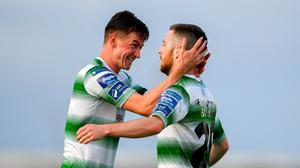 Jack Byrne, right, celebrates with team-mate Ronan Finn of Shamrock Rovers after scoring his side's first goal