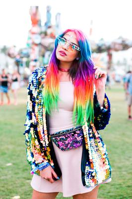 Street Style At The 2018 Coachella Valley Music And Arts Festival - Weekend 1 on April 15, 2018 in Indio, California.  (Photo by Presley Ann/Getty Images for Coachella )