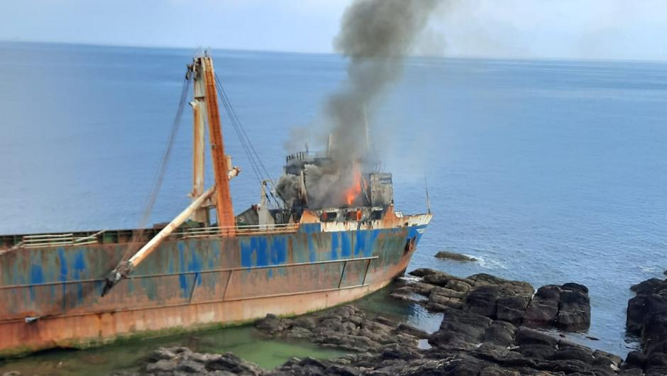 Cork Fire Brigade units battled to stop the blaze spreading on the abandoned vessel MV Alta