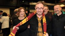 Magic: Sinn Féin's Eoin Ó Broin tries on a Harry Potter scarf, much to the amusement of his partner Lynn Boylan, in the Dublin Mid West count centre. Photo: Frank McGrath