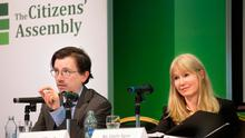 Background: UCD law lecturer John O'Dowd and Emily Egan SC speak at the Citizens' Assembly in the Grand Hotel, Malahide, Co Dublin. Photo: Tony Gavin
