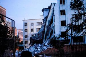 A damaged building is seen after explosions hit Liucheng county, Guangxi Zhuang Autonomous Region, China, September 30, 2015. REUTERS/Stringer