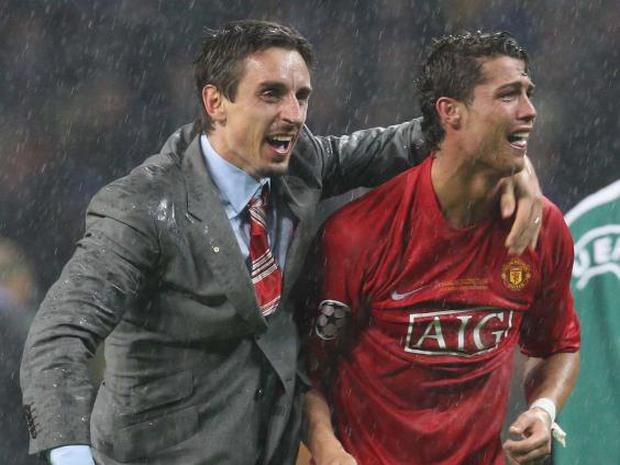 Neville and Ronaldo celebrate winning the Champions League in 2008 (Getty Images)