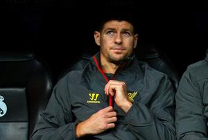 Steven Gerrard looks on from the bench during Liverpool's Champions League match against Real Madrid on Tuesday night. Gonzalo Arroyo Moreno/Getty Images