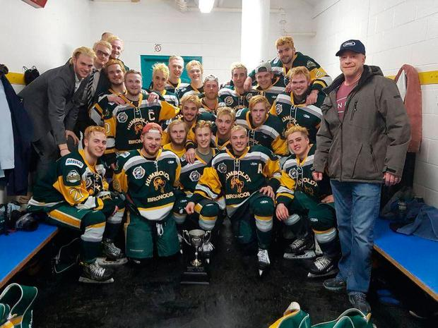 The Humboldt Broncos junior team after a victory in March Credit: Twitter/Humboldt Broncos