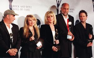 Members of the British rock group Fleetwood Mac (from left) John McVie, Stevie Nicks, Christine McVie, Mick Fleetwood and Lindsay Buckingham appear together