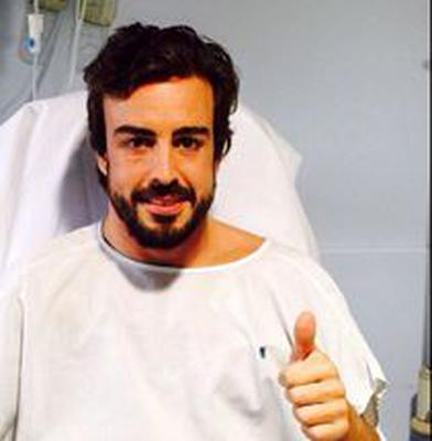 Fernando Alonso thanks the public for their support from his hospital bed.