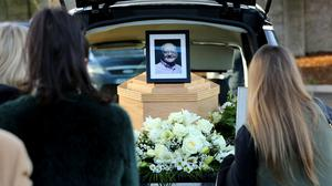 Larry Gogan funeral.  Larrys remains in the hearse after the funeral mass in Templeogue.  Picture; Gerry Mooney