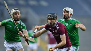 Padraic Mannion of Galway in action against Cian Lynch and Aaron Gillane of Limerick during the GAA Hurling All-Ireland Senior Championship Semi-Final. Photo by Brendan Moran/Sportsfile