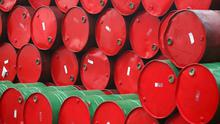 $50: Price of a barrel of crude oil now compared to $71 in 2018. Stock Image