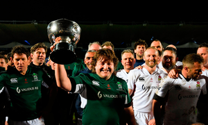 Shane Byrne and the Irish Legends after beating England Legends at the RDS Picture: Sportsfile