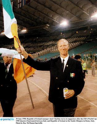 Jack Charlton waves to supporters after the FIFA World Cup 1990 Quarter-Final match between Italy and Republic of Ireland at the Stadio Olimpico in Rome, Italy. Photo by Ray McManus/Sportsfile