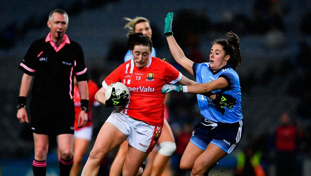 8 February 2020; Áine O'Sullivan of Cork in action against Siobhán Woods of Dublin during the Lidl Ladies National Football League Division 1 Round 3 match between Dublin and Cork at Croke Park in Dublin. Photo by Ray McManus/Sportsfile