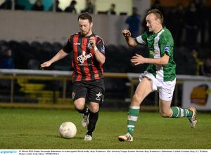 21 March 2015; Paddy Kavanagh, Bohemians, in action against David Scully, Bray Wanderers. SSE Airtricity League Premier Division, Bray Wanderers v Bohemians, Carlisle Grounds, Bray, Co. Wicklow. Picture credit: Cody Glenn / SPORTSFILE
